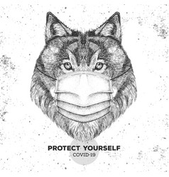 Animal wolf wearing face medical mask covid-19 vector