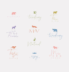 animals mini floral graphic signs color vector image