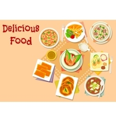 Asian soup with meat and cheese pastry icon vector