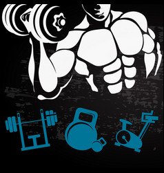 athlete with a dumbbell for training vector image