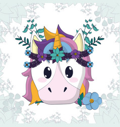 Beautiful and magic unicorn cartoon vector