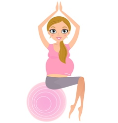 Beautiful Pregnant woman sitting on Pilates ball vector