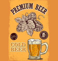 beer poster in retro style beer objects on grunge vector image