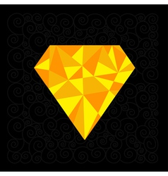 Big yellow polygonal diamond on the black backgrou vector