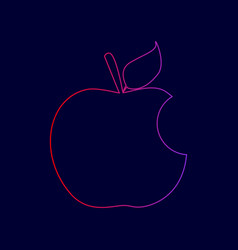 Bite apple sign line icon with gradient vector