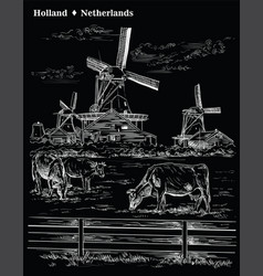 Black hand drawing holland 8 vector