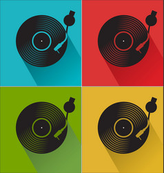 Black vinyl record disc flat concept colorful vector