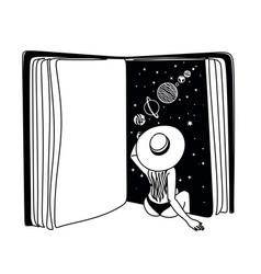 Book universe girl line art print surreal prints vector
