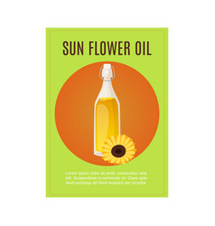 bottle sunflower oil with flower and typography vector image