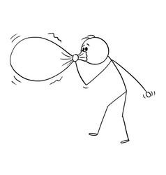 cartoon man or businessman inflating or vector image