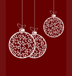 christmas balls with ornament and bow vector image