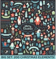 Christmas decoration big collection vector