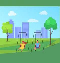 colorful playground with a swing and kids vector image