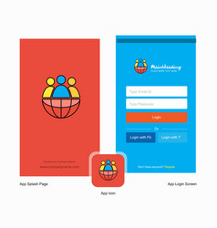 Company group avatar splash screen and login page vector