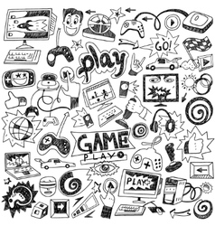 Computer games doodles vector
