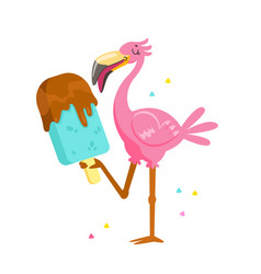 cute pink flamingo eating chocolate ice cream vector image