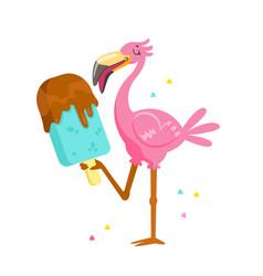 Cute pink flamingo eating chocolate ice cream vector