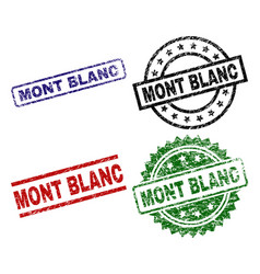 Damaged textured mont blanc seal stamps vector