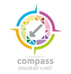 design icon compass direction place abstract vector image