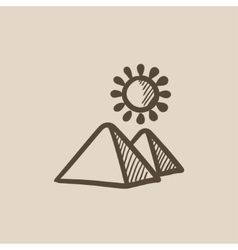 Egyptian pyramids sketch icon vector
