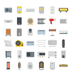 electric heater device icons set flat style vector image