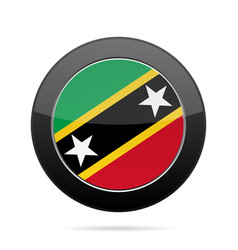flag of saint kitts and nevis black round button vector image
