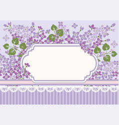 Floral card template with lilac and empty frame vector
