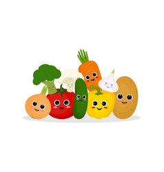 funny and happy vegetables vector image