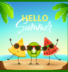 Funny summer banner with cute fruit characters vector
