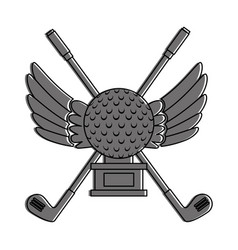 Golf ball with wings championship award icon vector