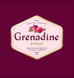 Grenadine syrup label pomegranate product hexagon vector
