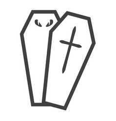 halloween coffin line icon halloween and scary vector image