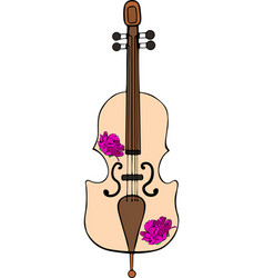 hand-drawn cello with purple peonies vector image