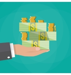 hand holding stack of cash and coins vector image vector image