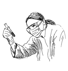 Hand sketch scientist vector image vector image