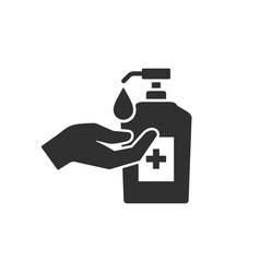 Hand with sanitizer liquid soap icon vector
