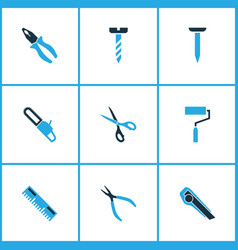 Handtools icons colored set with roller brush vector