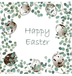 happy easter card frame vector image