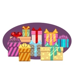 Heap of gift boxes with ribbon bows isolated over vector
