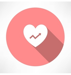 Heart with chart icon vector