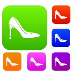 high heel shoe set collection vector image