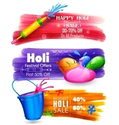 Holi banner for sale and promotion vector