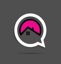 Home icon pink in speech bubble vector