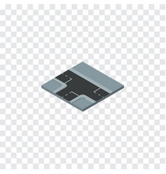 Isolated three ways isometric crossroad vector