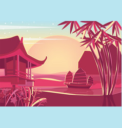 Japanese style sunset vector