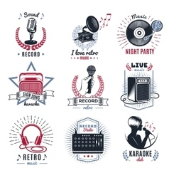 Karaoke Vintage Logos Set vector