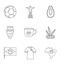 landmarks of brazil icon set outline style vector image