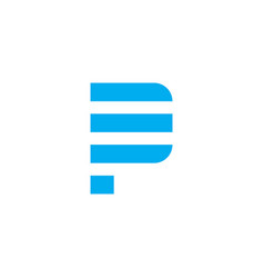 logo letter p blue stripes vector image