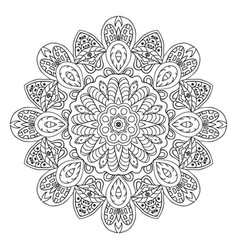 Mandala doodle drawing floral round ornament vector