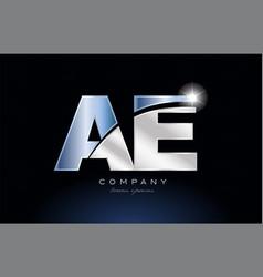Metal blue alphabet letter ae a e logo company vector